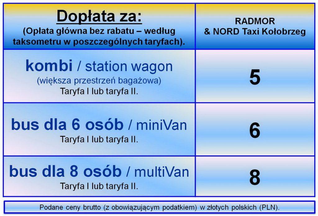 24/7 TAXI tel.: (94) 196-28. Radmor i Nord Taxi Kołobrzeg.